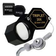 20x Magnification 20.5mm Jeweler Gem Loupe Triplet Lens Magnifier