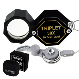 30x Jeweler 20.5mm Gem Loupe Magnifiers Jewelry Triplet Lens Optical Glass