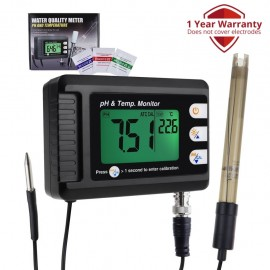 2-in-1 Combo pH & Temperature Meter Fish Tank Monitor Thermometer Replaceable BNC pH Electrode for Aquariums Hydroponics Aquaculture Laboratory