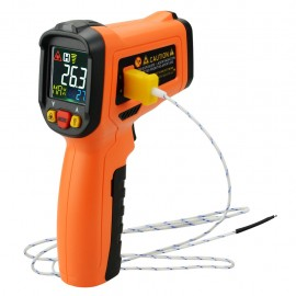 Non-contact Infrared IR Laser Thermometer K-Type Thermocouple -50~800°C / -58~1472°F Color Display Gun-Type with Alarm