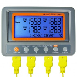 Digital 4-channel thermometer with K-type thermocouple SD data card and large LCD display
