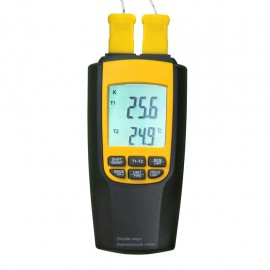 Digital thermometer with K or J- type thermocouple with 4 probes and large LCD display
